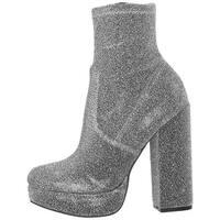 Steve Madden Womens Stardust Velvet Round Toe Ankle Fashion Boots