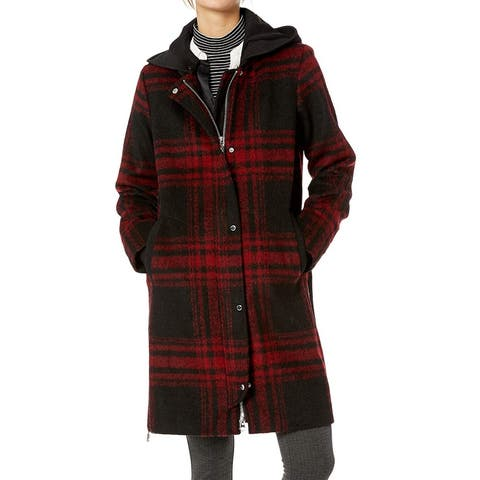 Vince Camuto Womens Coat Black Red Size Large L Plaid Full-Zip Hooded