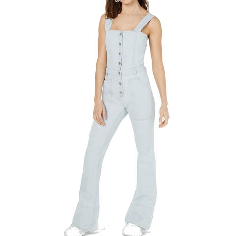 Kendall + Kylie Womens Denim Overalls Light Blue Size XS Button-Down