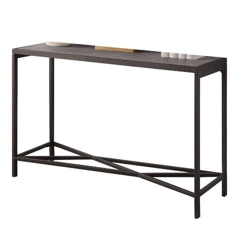 30 Inch Metal Sofa Table with Faux Slate Top, Gray and Black
