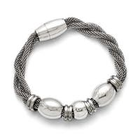 Chisel Stainless Steel Polished and Brushed Beads Twisted Bracelet