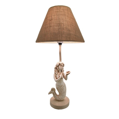 22 Inch Beige Antique Stone Finish Mermaid Table Lamp w/Burlap Shade - 22.5 X 11 X 11 inches