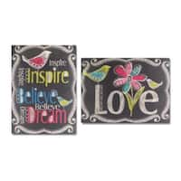 """Pack of 4 Black Multi-Colored Decorative Chalkboard Wall Plaque 23"""""""