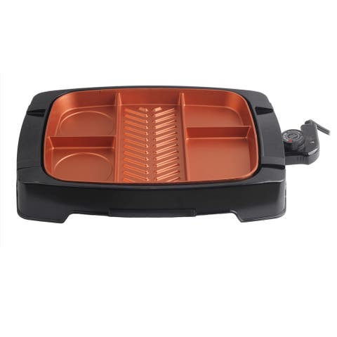 Brentwood Multi-Portion Electric Indoor Grill with Copper Coating