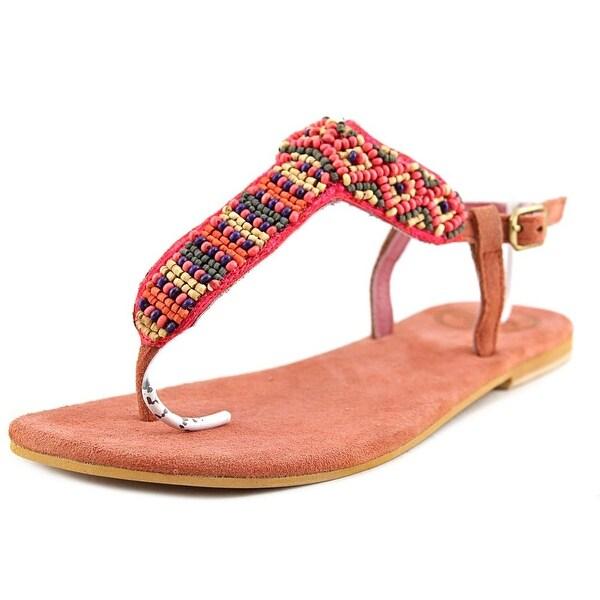 Coolway Miami Women Open Toe Leather Orange Thong Sandal