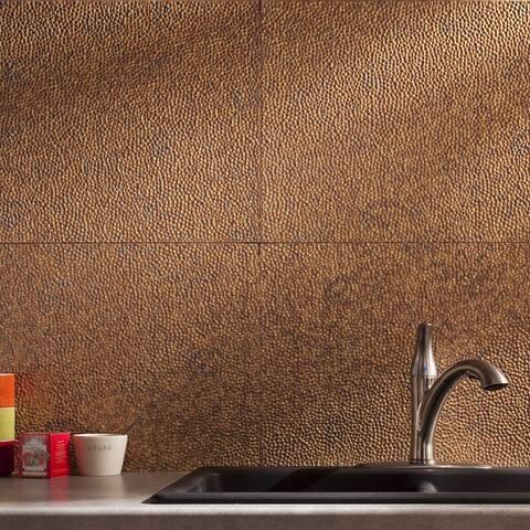 Fasade Hammered Decorative Vinyl 18in x 24in Backsplash Panel in Cracked Copper (5 Pack)