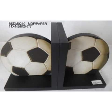 "11"" Black and White Contemporary Soccer Bookend"