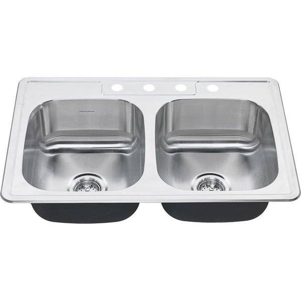 "American Standard 20DB.8332284S Colony 33"" Double Basin Stainless Steel Kitchen Sink for Drop In Installations with Four Faucet"