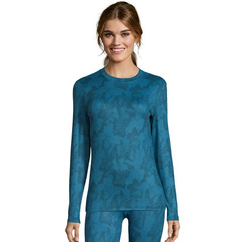 Hanes Women's Print 4-Way Stretch Thermal Crewneck - Color - Teal Combo - Size - XL