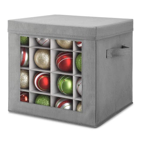 Whitmor Holiday Ornaments Storage Cube with 64 Individual Compartments - Transparent Cover for Easy Viewing (Grey)