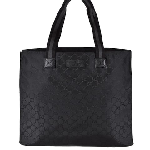697b5ad9e Gucci 449178 Black Nylon Tonal GG Guccissima Top Handle Tote Bag Purse