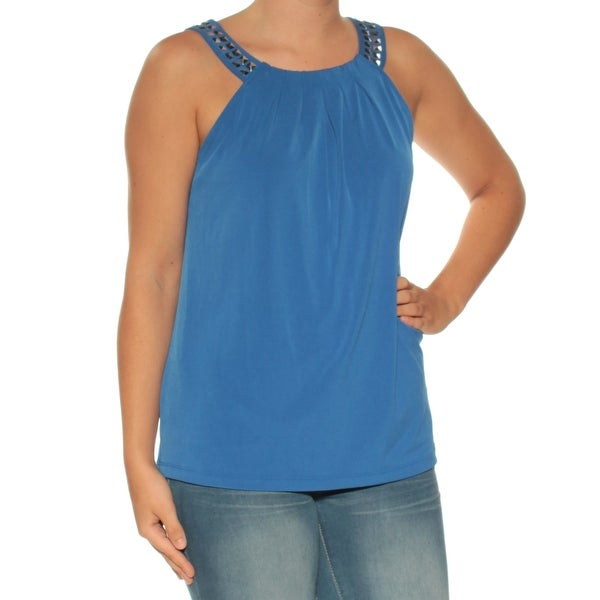 5daafe333733b4 Shop CALVIN KLEIN Womens Blue Beaded Sleeveless Crew Neck Top Size  S -  Free Shipping On Orders Over  45 - Overstock.com - 25615452