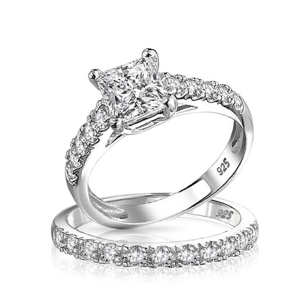 3518b4e76e9db0 1 CT Cubic Zirconia Square Princess Cut Solitaire Thin Pave Band AAA CZ  Engagement Wedding Ring