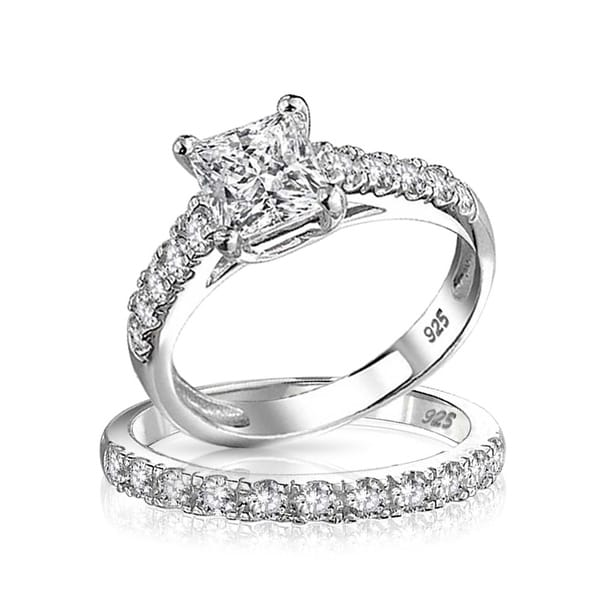 45d88867c2 1 CT Cubic Zirconia Square Princess Cut Solitaire Thin Pave Band AAA CZ  Engagement Wedding Ring
