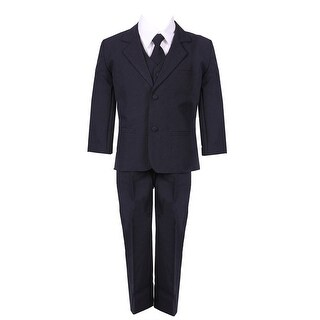 Baby Boys Navy Blue 5 Piece Vest Jacket Pants Special Occasion Suit