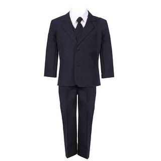 Boys Navy Blue 5 Piece Classic Vest Jacket Pants Special Occasion Suit