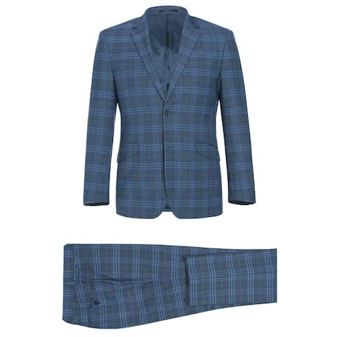 Men's 2 Piece Slim Fit Performance Windowpane Check Stretch Suit