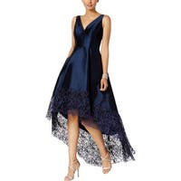 Betsy & Adam Womens Evening Dress Lace Trim High-Low