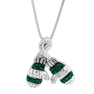 Crystaluxe Striped Mittens Pendant with Swarovski Crystals in Sterling Silver - White