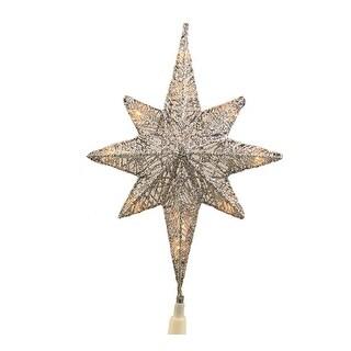 """12"""" Lighted Silver Glitter Star of Bethlehem Christmas Tree Topper - Clear Lights"""