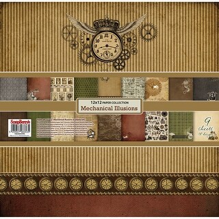 "Scrapberry's Mechanical Illusions Paper Pack 12""X12"" 9/Pkg-9 Double-Sided Designs/1 Each"