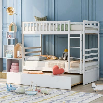 Twin Bunk Bed for Kids with Safety Rail and Movable Trundle Bed, White
