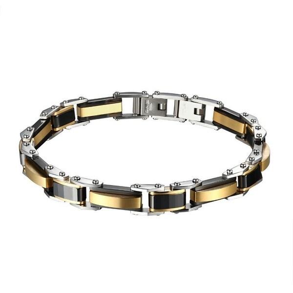 Mens Custom Stainless Steel Bracelet Rose Black Links Silver Tone Hip Hop 9mm