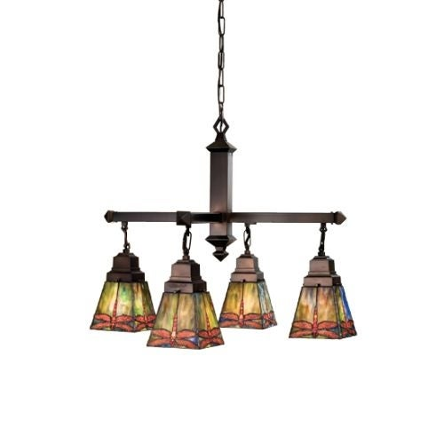 Meyda Tiffany 48035 Stained Gl 4 Light Down Lighting Chandelier From The Prairie Dragonfly