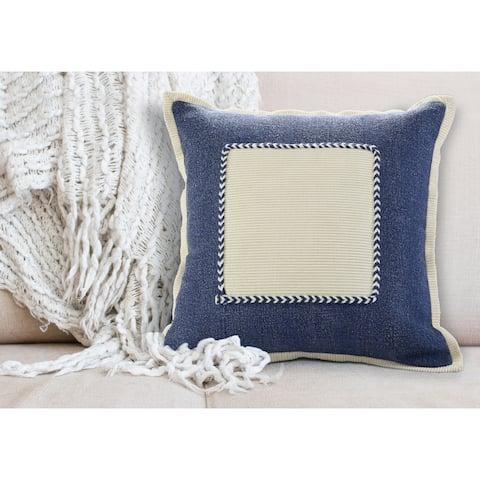 Navy Riviera Framed Throw Pillow