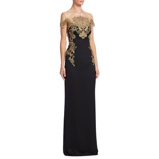 Marchesa Notte Embroidered Crepe Illusion Short Sleeve Evening Gown Dress Black - 6