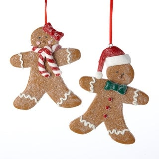 """Club Pack of 12 Gingerbread Kisses Boy and Girl Cookie Christmas Ornaments 4.5"""""""