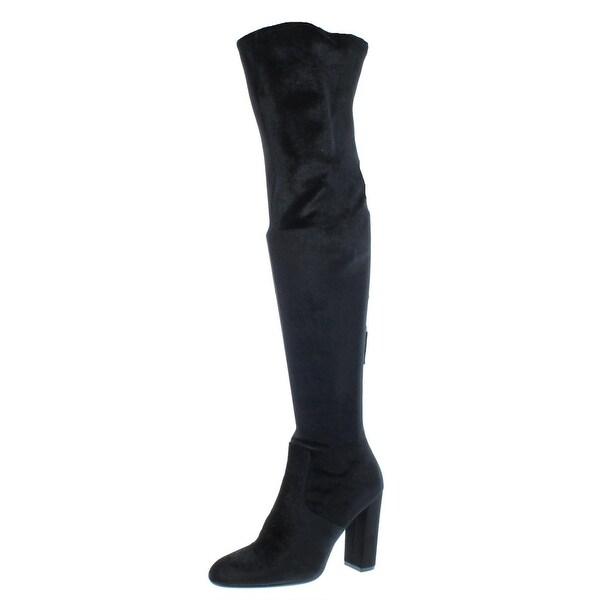 0ae26c88b25 Steve Madden Womens Emotionv Over-The-Knee Boots Velvet Thigh High - 7.5  medium