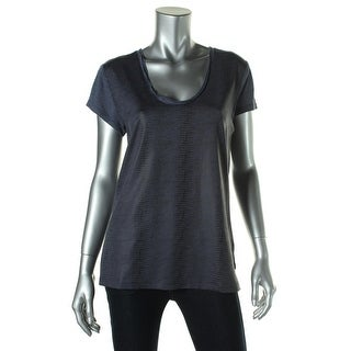 Calvin Klein Jeans Womens Textured Short Sleeves Pullover Top - L