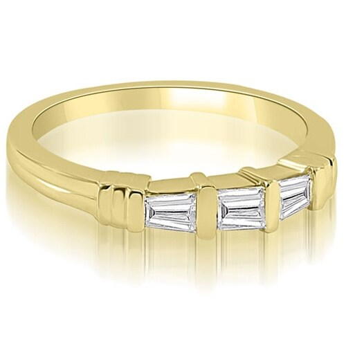 0.25 cttw. 14K Yellow Gold 3-Stone Bar Set Baguette Diamond Wedding Ring