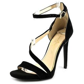 Jessica Simpson Rayli Women Open-Toe Suede Black Heels