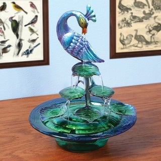Decorative Glass And Metal Peacock Indoor Water Fountain
