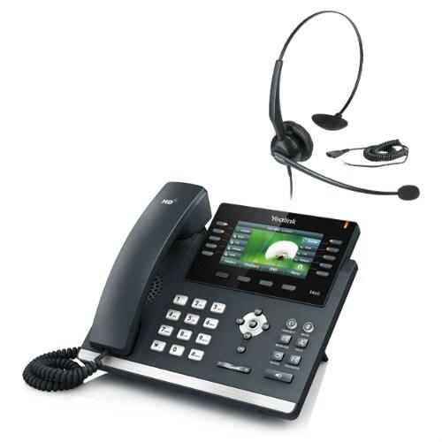 Yealink SIP-T46G with YHS 33 Ultra-Elegant Gigabit IP Phone with Headset