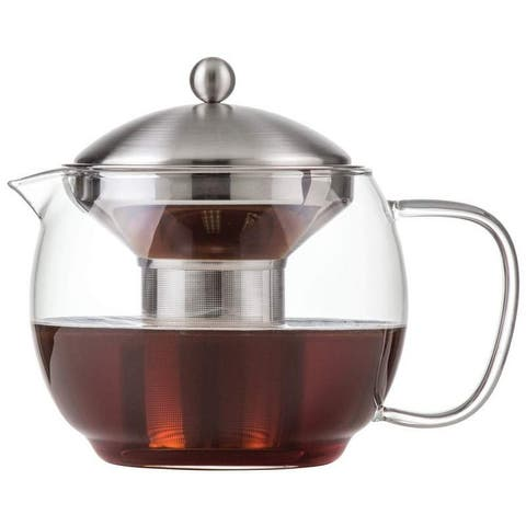 """Chef's Secret 40oz Glass Tea Pot with Stainless Steel Infuser and Neoprene Cover - 7.48"""" L X 5.59"""" W X 5.71"""" H"""