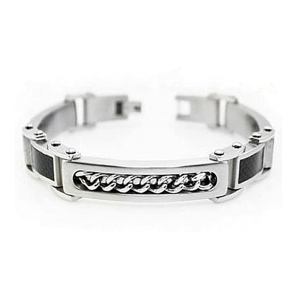 Men's Stainless Steel ID Bracelet w/ Carbon Fiber Inlaid Links - 8.5 inches