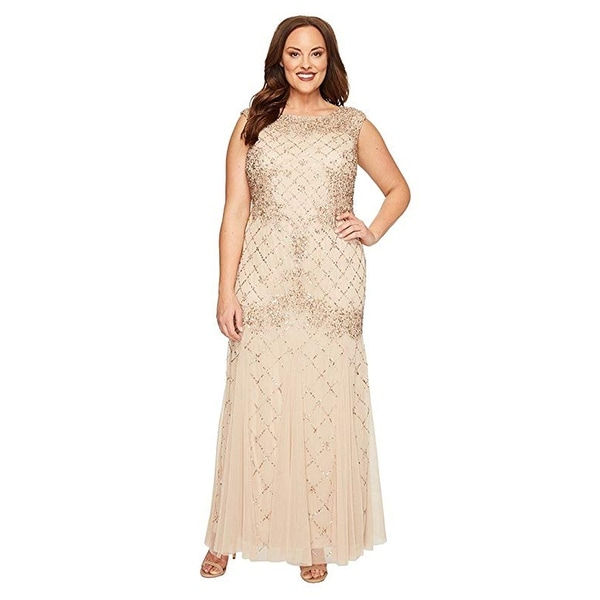 Adrianna Papell Cap Sleeve Fully Beaded Lattice Motif Gown, Champagne, 8