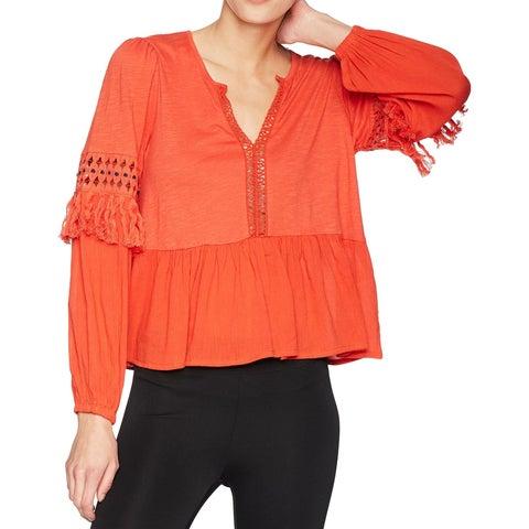 Lucky Brand Orange Womens Size Large L Fringe Eyelet Trim Blouse