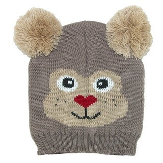 CTM® Kids' Knit Animal Face Hat with Poms - One size