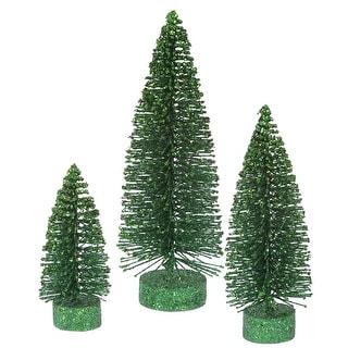 "5""-7""-9"" Emerald Glitter Oval Tree Set"