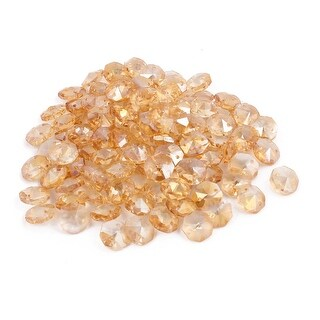 100pcs 14mmx14mm Octagonal Crystal Beads Amber Color for DIY Light Accessories