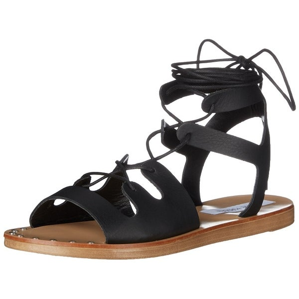 Steve Madden Womens Rella Leather Open Toe Casual Ankle Strap Sandals