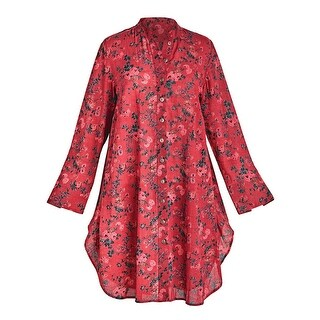 April Cornell Women's Red Roses Tunic Top - Floral Print Long Sleeve Blouse