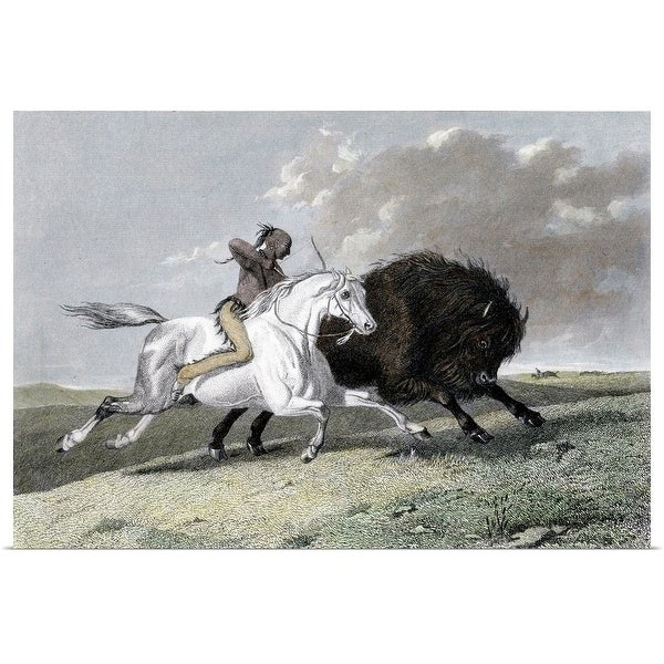 Shop Poster Print entitled Native American hunting buffalo - Multi ... 18a0891a6925