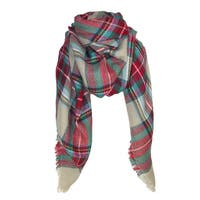 CTM® Women's Plaid Check Print Blanket Shawl Scarf - One size