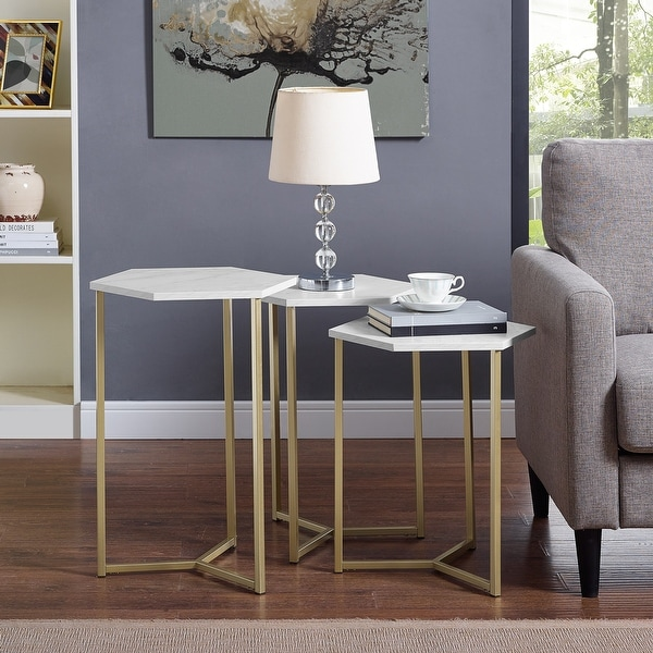 Silver Orchid Linder Hex Nesting Tables, Set of 3. Opens flyout.