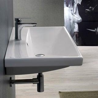 "Nameeks 032000-U  Elite 23-5/8"" Ceramic Wall Mounted/Drop in Bathroom Sink with 1 / 3 Faucet Holes Drilled"